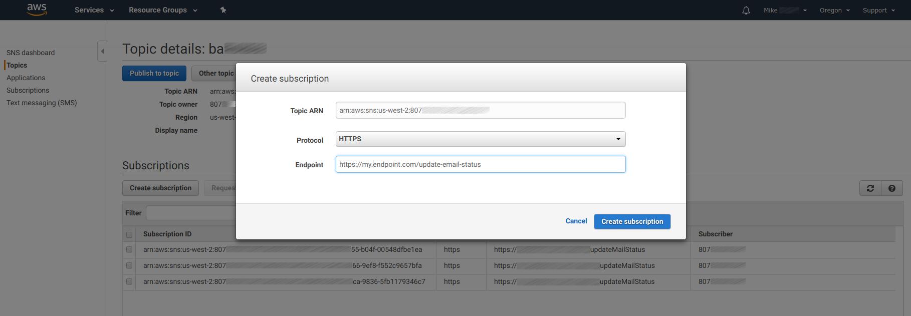 Amazon SNS - Configuring SNS Destination